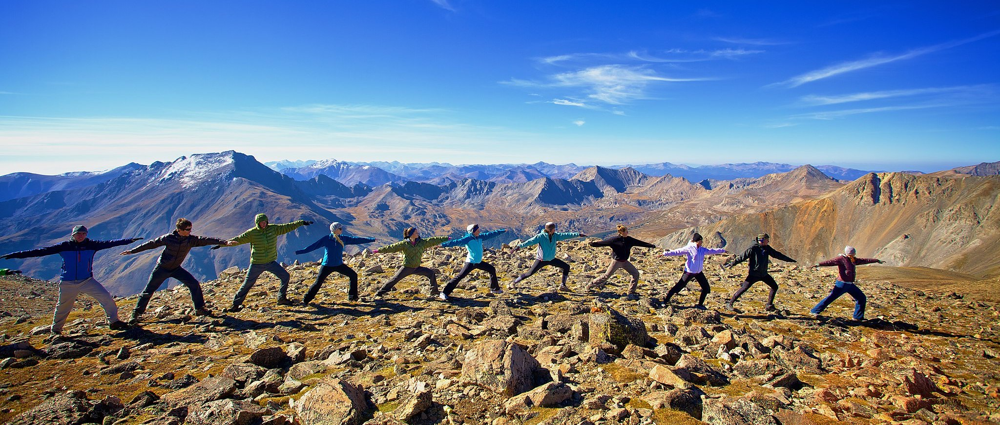 Colorado hikers doing yoga